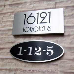 Oval Etching Back SS House Sign 1-12-5