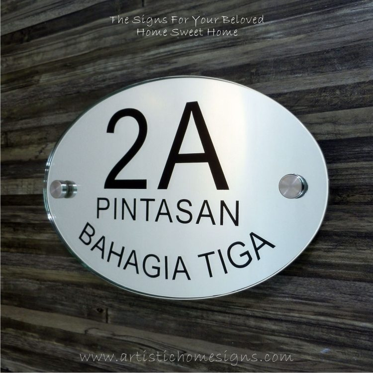 Oval Glass Mirror House Sign 2A