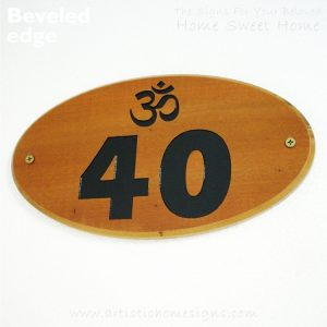Oval Wooden Om House Sign 40