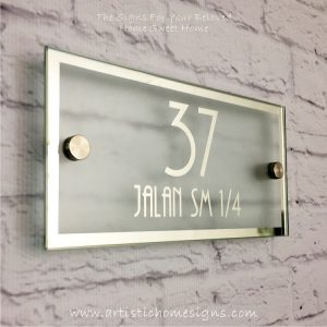 Rectangle Chrome Mirror Border With Sandblast Frosted Finishing Sign 37