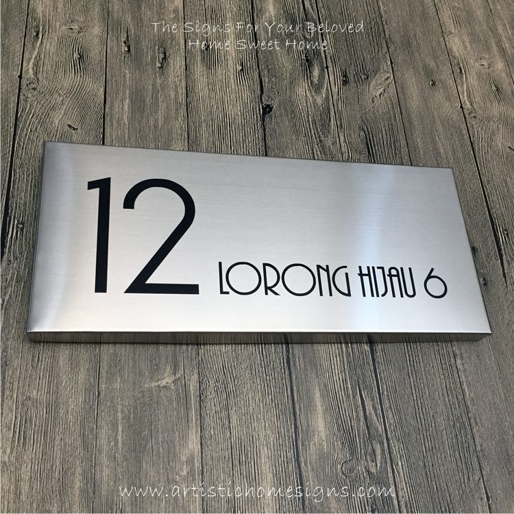 Rectangle Etching Black Letters House Signs 12