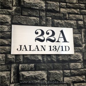 Rectangle Etching Black Letters House Signs 22A