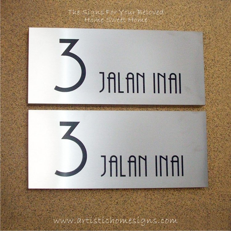 Rectangle Etching Black Letters House Signs 3