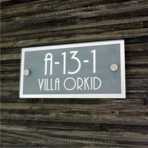 Rectangle Mirror Chrome Border & Text With Sandblast Frosted Finishing House Number Address Sign 01