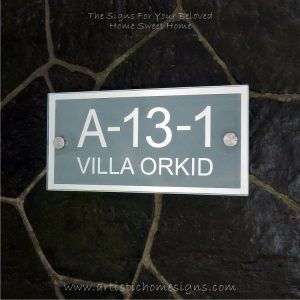 Rectangle Mirror Chrome Border & Text With Sandblast Frosted Finishing House Number Address Sign 03