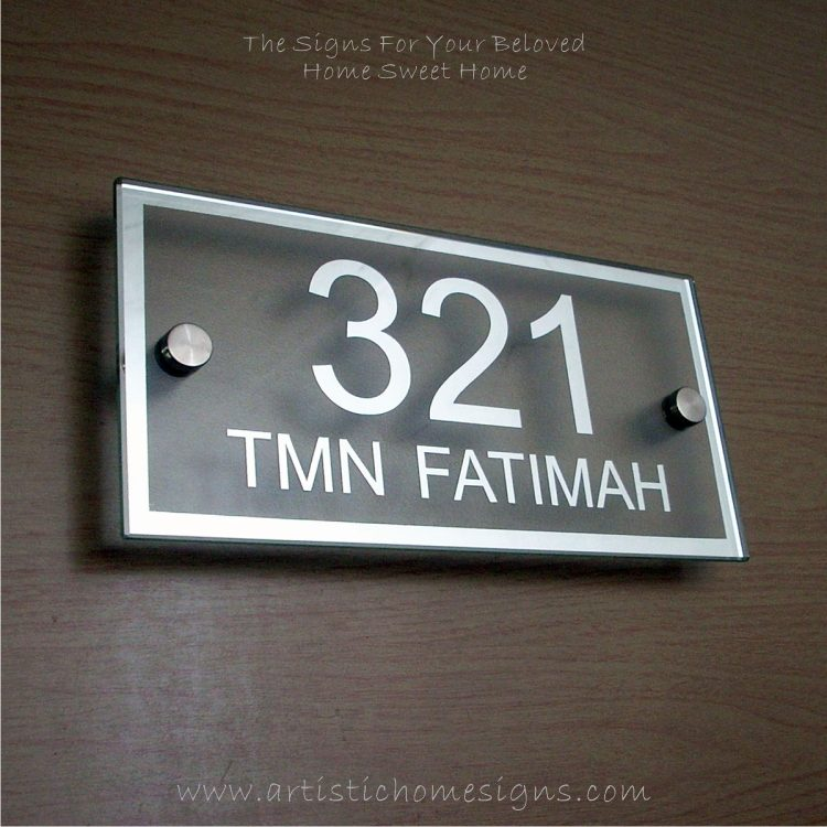 Rectangle Mirror Chrome Border & Text With Sandblast Frosted Finishing House Number Address Sign 321