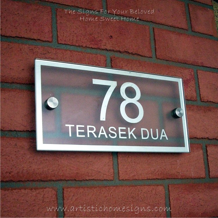 Rectangle Mirror Chrome Border & Text With Sandblast Frosted Finishing House Number Address Sign 06