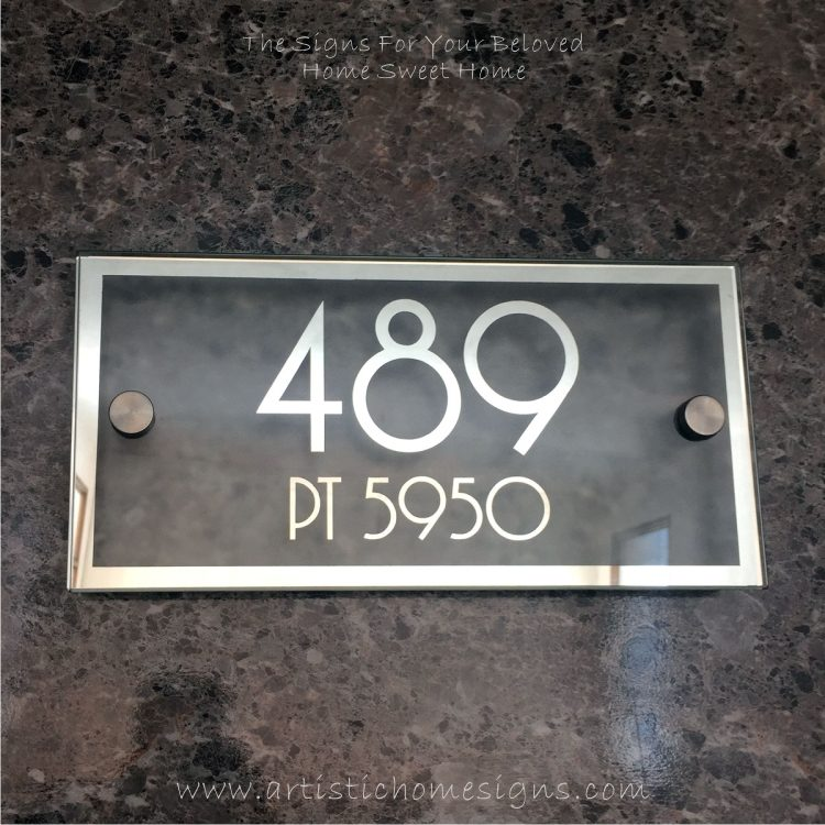 Rectangle Mirror Chrome Border & Text With Sandblast Frosted Finishing House Number Address Sign 489