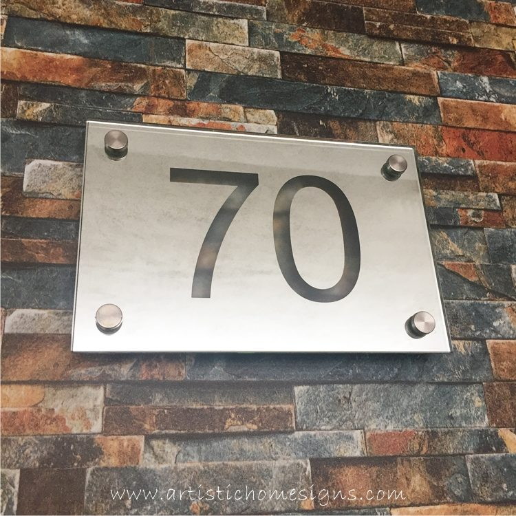 Rectangle Mirror Etching House Number Address Sign 70