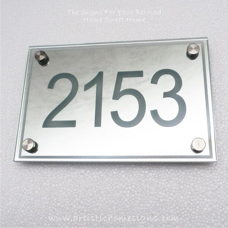 Etching Background Mirror With Border Sign 2153