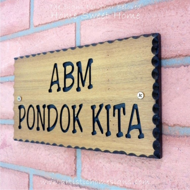 WDR-145 Rectangle Wooden House Sign Black Letters