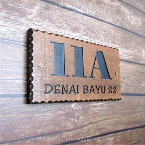 WDR-145 Rectangle Wooden House Sign Black Letters 11A