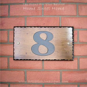 WDR-145 Rectangle Wooden House Sign Black Letters 8