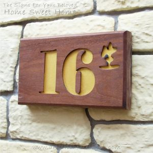 WDR-145 Rectangle Wooden House Sign Gold Letters 16