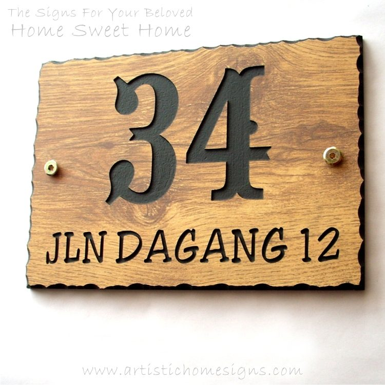 WDR-350 Rectangle Wooden House Sign Gold Letters 34