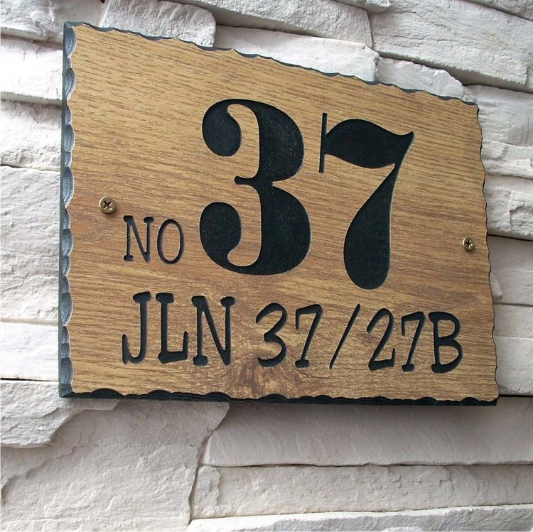 WDR-350 Rectangle Wooden House Sign Gold Letters 37