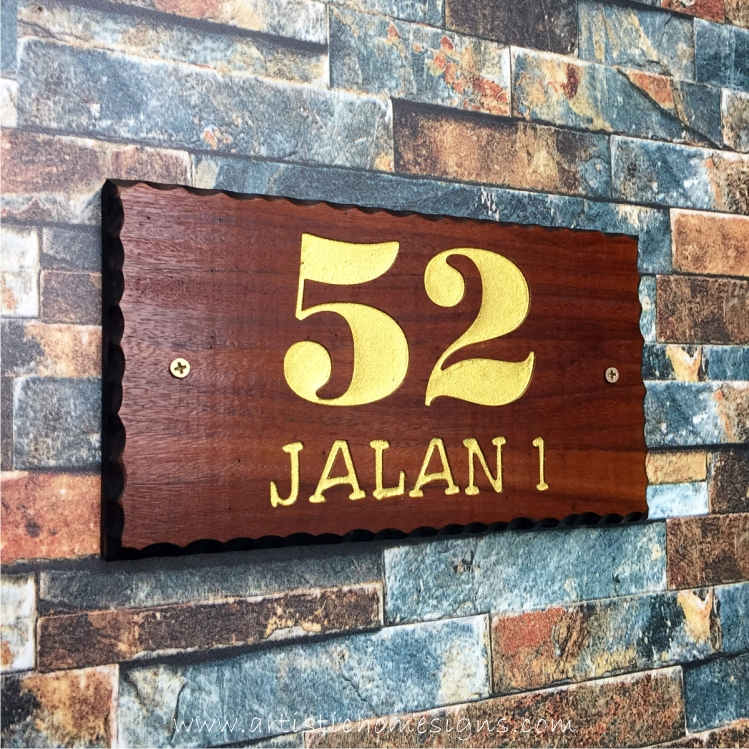 WDR-145 Rectangle Wooden House Sign Gold Letters 52