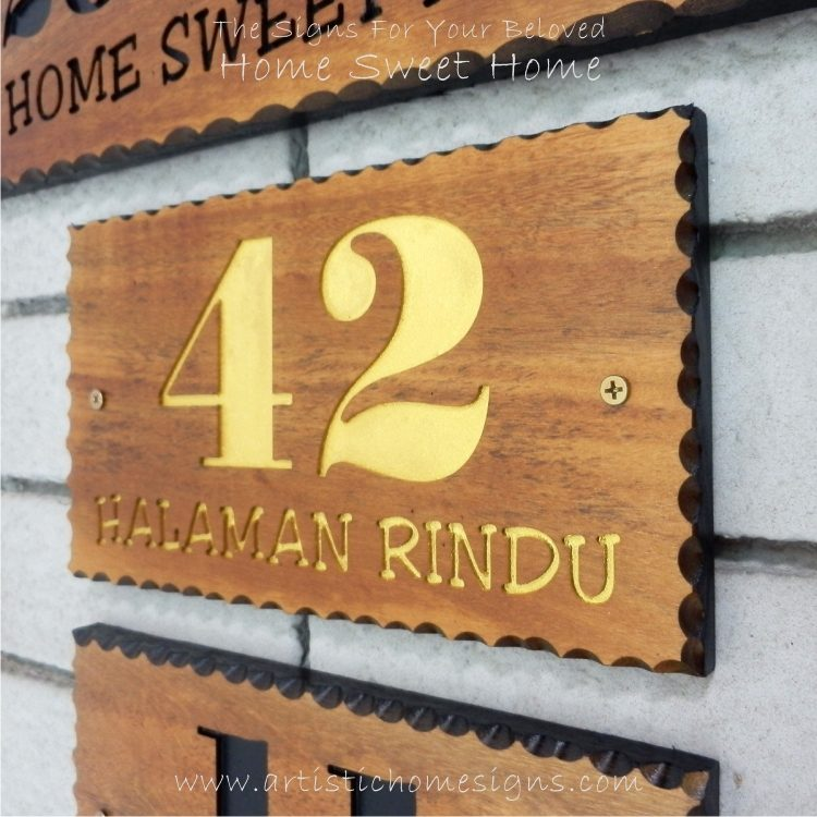 WDR-145 Rectangle Wooden House Sign Gold Letters 42