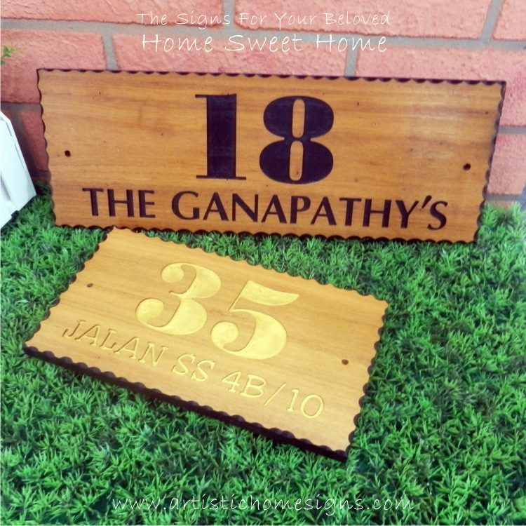 WDR-145 Rectangle Wooden House Sign Gold Letters 35