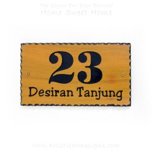 WDR-145 Rectangle Wooden House Sign Gold Letters 23