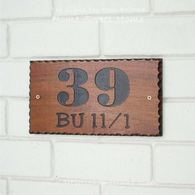 WDR-145 Rectangle Wooden House Sign Gold Letters 39