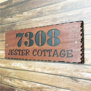 WDR-400 Rectangle Wooden House Sign Black Letters 7308