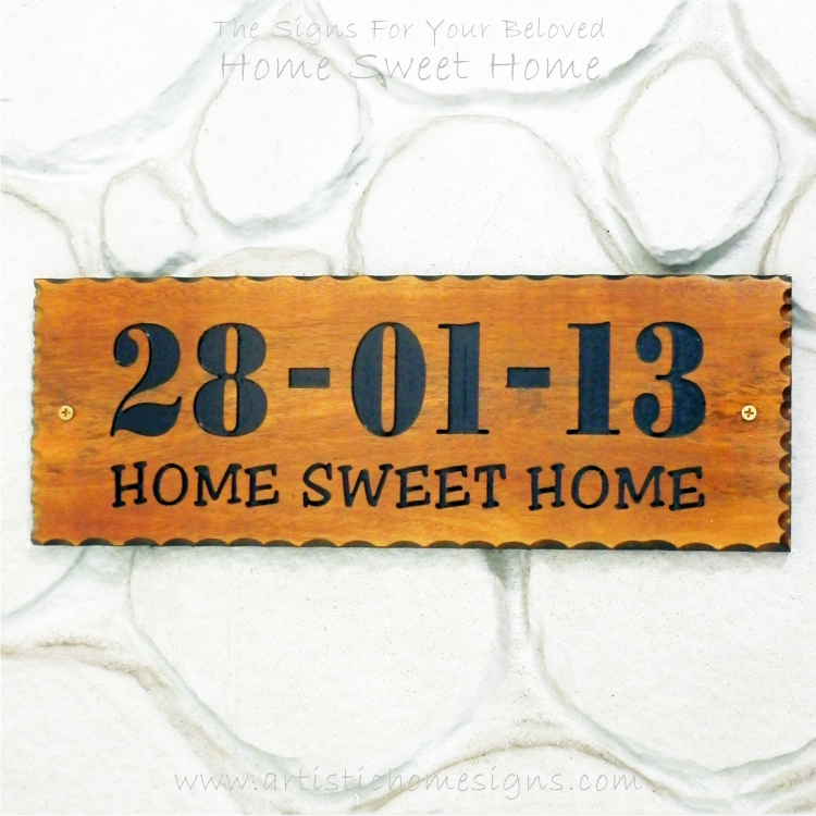 WDR-400 Rectangle Wooden House Sign Black Letters 28-01-13