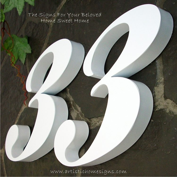 Snow White Weather Resistant Modern House Numbers 33 04