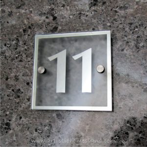 Square Chrome Mirror Border With Sandblast Frosted Finishing Sign 11