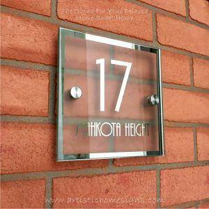 Square Chrome Mirror Border With Sandblast Frosted Finishing Sign 17