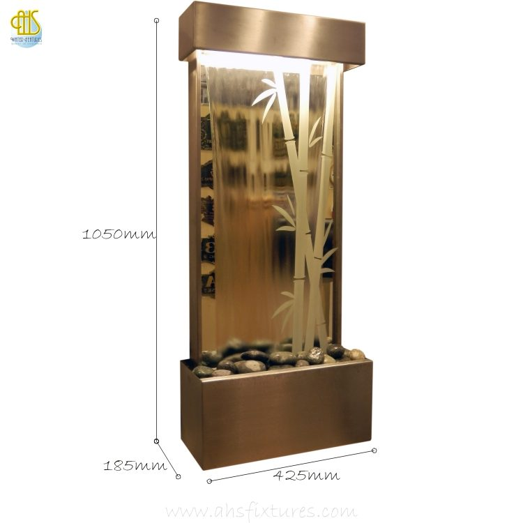 WWG-410 Bamboo Art Glass Mirror Etching Wall Fountain 02