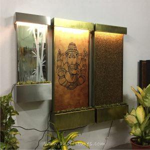 WWG-410 Bamboo Art Glass Mirror Etching Wall Fountain 09