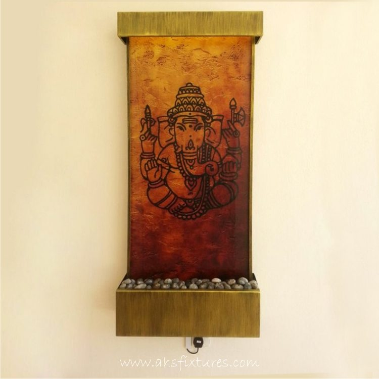 WWG-615 Ganesh Art Glass Wall Fountain 01