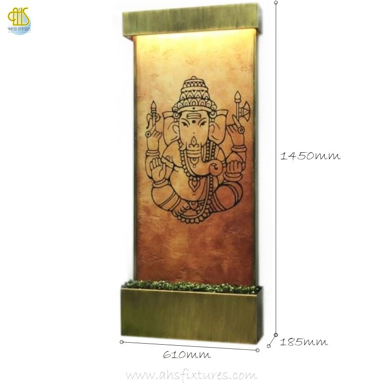 WWG-615 Ganesh Art Glass Wall Fountain 02