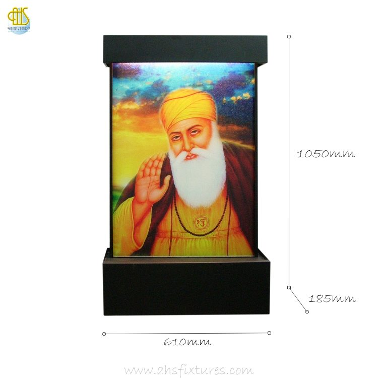 WWG-610 Guru Nanak Art Glass Wall Fountain Dimension