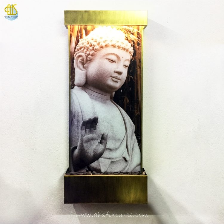 WWG-615 Buddha Art Glass Antique Gold Frame Wall Fountain 01