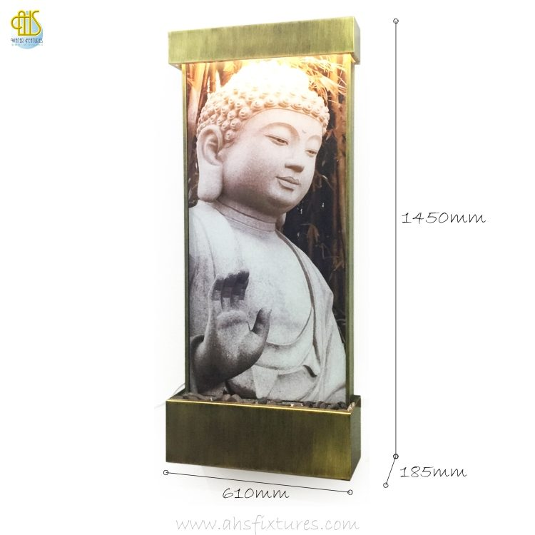 WWG-615 Buddha Art Glass Antique Gold Frame Wall Fountain 02