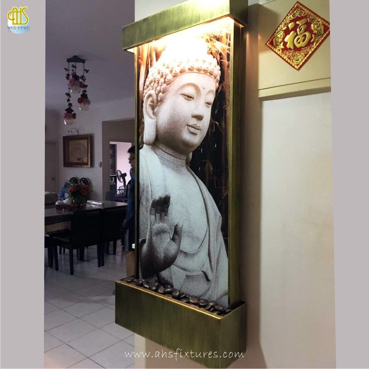 WWG-615 Buddha Art Glass Antique Gold Frame Wall Fountain 04