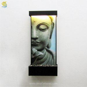 WWG-615 Buddha Art Glass Black Frame Wall Fountain 01