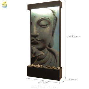 WWG-615 Buddha Art Glass Black Frame Wall Fountain 02