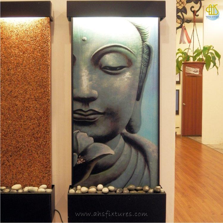 WWG-615 Buddha Art Glass Black Frame Wall Fountain 03