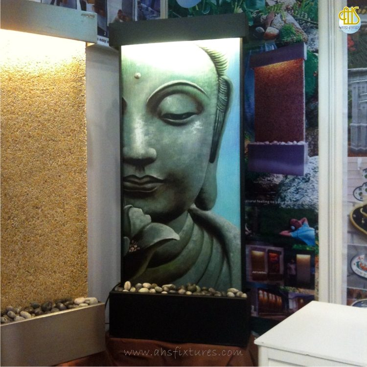 WWG-615 Buddha Art Glass Black Frame Wall Fountain 04