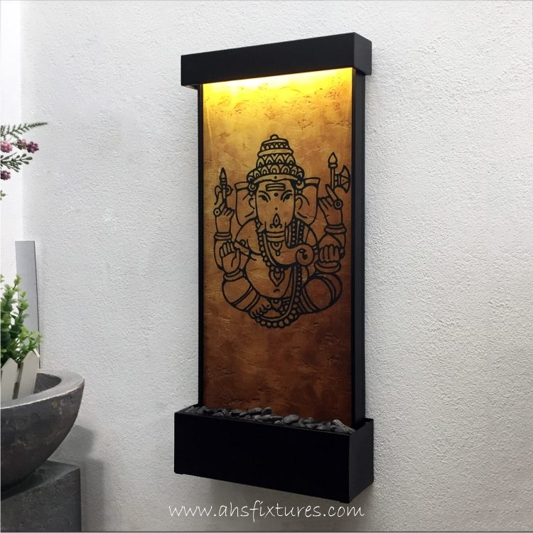 WWG-615 Ganesh Art Glass Wall Fountain Black Frame 01