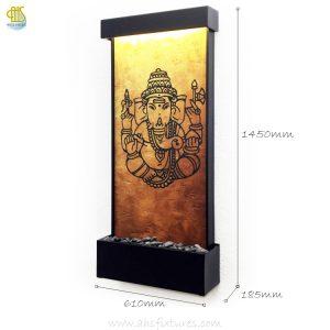 WWG-615 Ganesh Art Glass Wall Fountain Black Frame 02