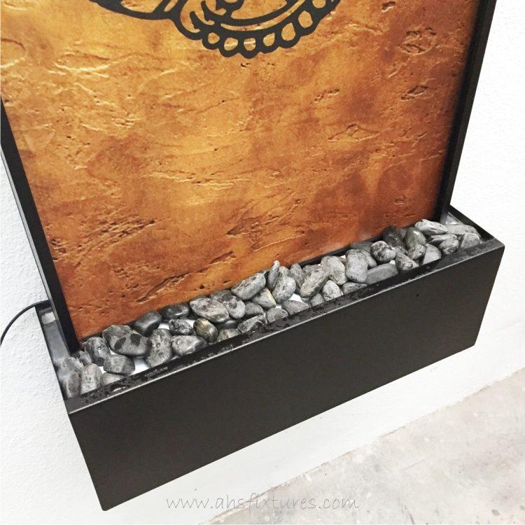 WWG-615 Ganesh Art Glass Wall Fountain Black Frame 04