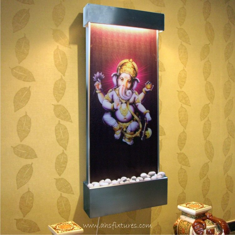 WWG-615 Ganesh Art Glass Wall Fountain Stainless Steel Frame 01
