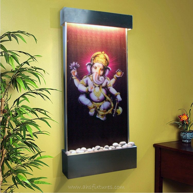 WWG-615 Ganesh Art Glass Wall Fountain Stainless Steel Frame 02