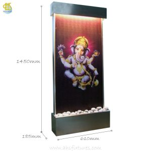 WWG-615 Ganesh Art Glass Wall Fountain Stainless Steel Frame 03