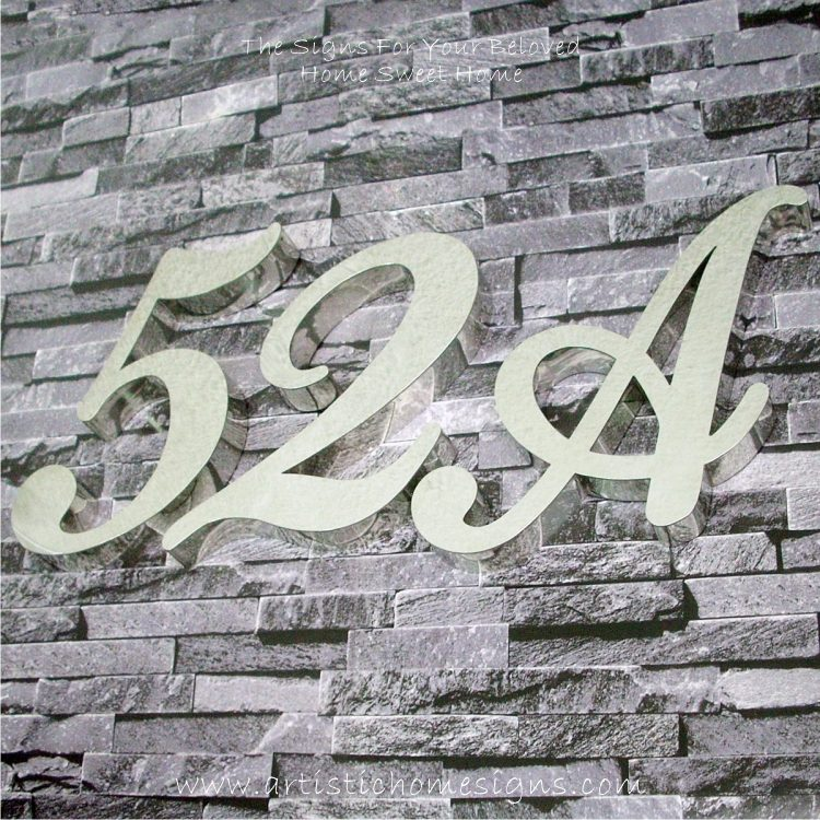 Weather Resistant House Numbers - Cursive Font 52A 01