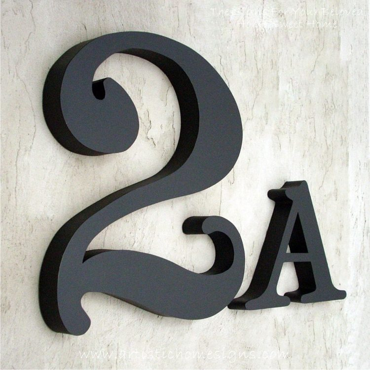 Weather Resistant House Numbers - Cursive Font In Black Coating 2A 02